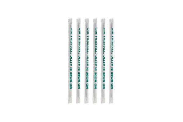 PLA Straws Straight Black Ø 0.42 cm,18.5 cm, Wrapped 1/1 | TESSERA Bio Products®