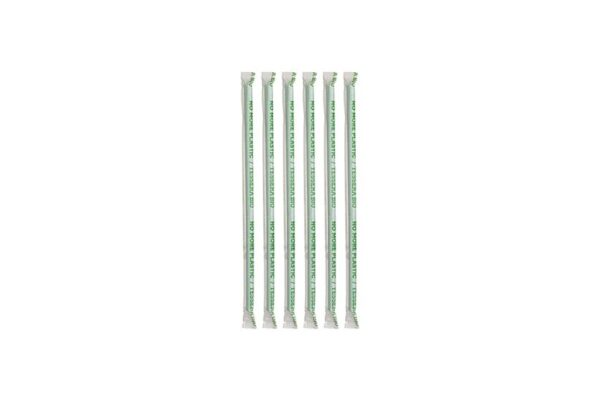 PLA Straws Flexible Green Ø 0.5 cm - 24 cm, Wrapped 1/1 | TESSERA Bio Products®