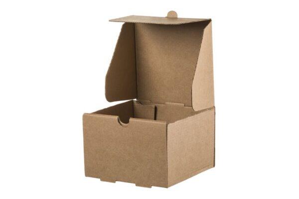 Kraft Corrugated Square Food Box, 13x13x8.6 cm | TESSERA Bio Products®