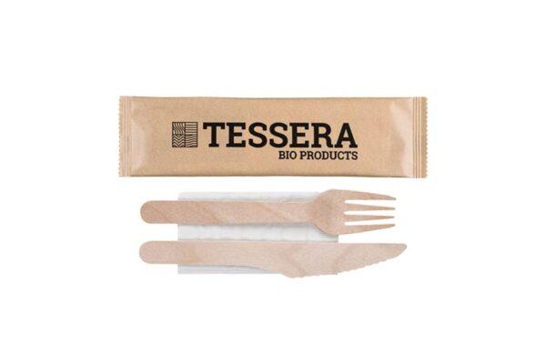 Holzbesteck-Set (Gabel-Messer-Serviette) | TESSERA Bio Products®