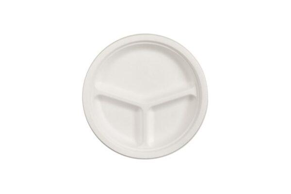 Sugarcane Plate Ø 25.5 cm, Round, 3 Compartments | TESSERA Bio Products®