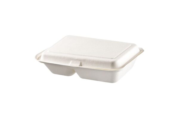 Sugarcane Food Container 23×15 cm, Hinged-Lid, 2 compartments, Rectangular | TESSERA Bio Products®