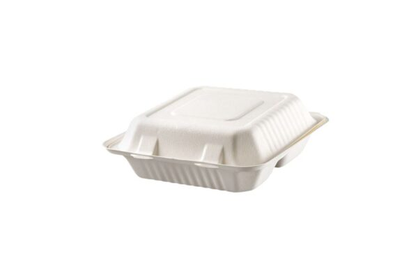 Sugarcane Food Container 23x23 cm, Hinged-Lid, Square, 3 Compartments | TESSERA Bio Products®