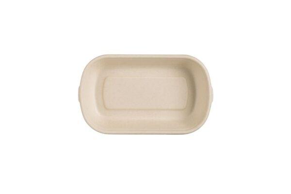 Mikrowellen-Lebensmittelbehälter aus Zuckerrohr 500ml, rechteckig | TESSERA Bio Products®