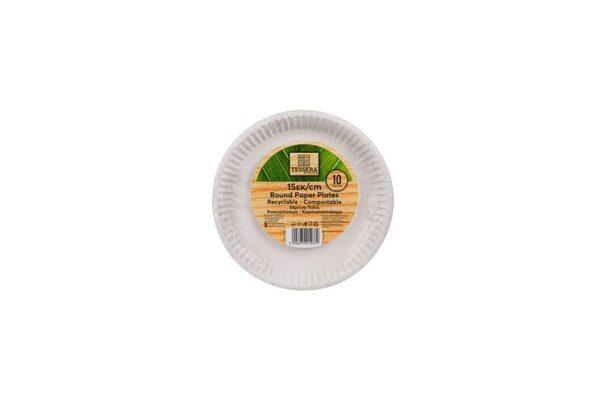 Πιάτο Χάρτινο Στρογγυλό Λευκό Ø 15 cm | TESSERA Bio Products®