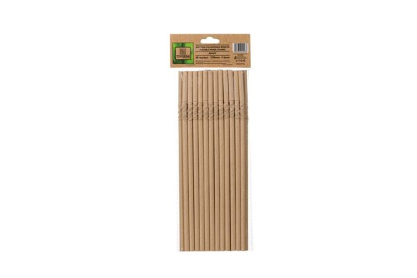 Paper Drinking Straws Flexible Kraft Ø 0.6 cm, 21 cm | TESSERA Bio Products®