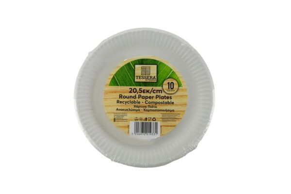 Paper Plates Ø 20.5 cm, Round | TESSERA Bio Products®