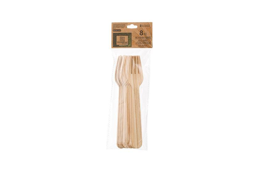 Ξύλινο Πιρούνι, 16 cm, 8 τεμ. | TESSERA Bio Products®