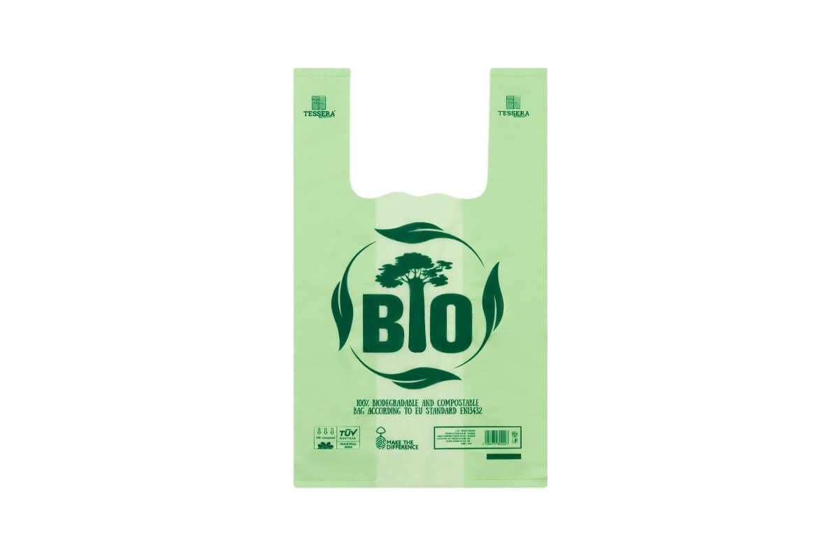 Τσάντα T-SHIRT Βιοδιασπώμενη Πράσινη 25x43 cm | TESSERA Bio Products®