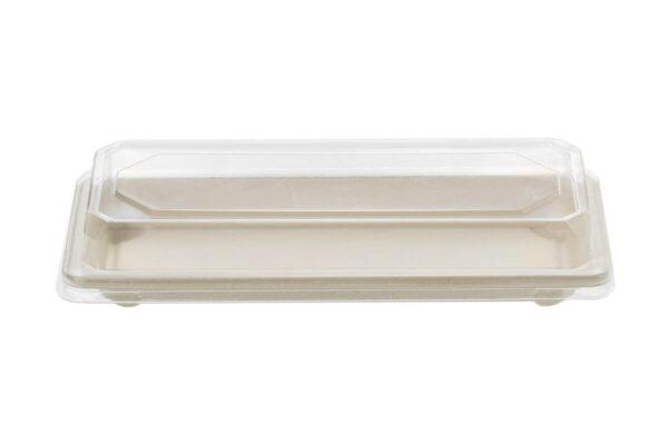Zuckerrohr – Sushi Tray Nr. 4 mit klarem PET – Deckel 22,1 x 9,2 x 2,2 cm | TESSERA Bio Products®