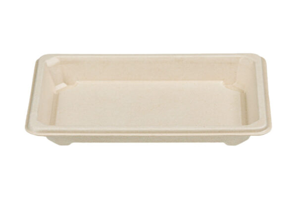 Sugarcane Sushi Tray N.8, with clear PET lid, 16,5 x 11,5 x 2,1 cm | TESSERA Bio Products®