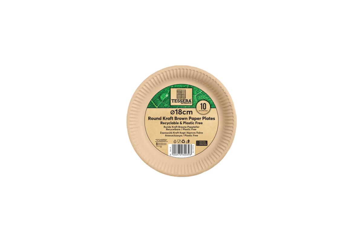 Πιάτο Χάρτινο KRAFT Στρογγυλό Ø 18 cm Retail | TESSERA Bio Products®