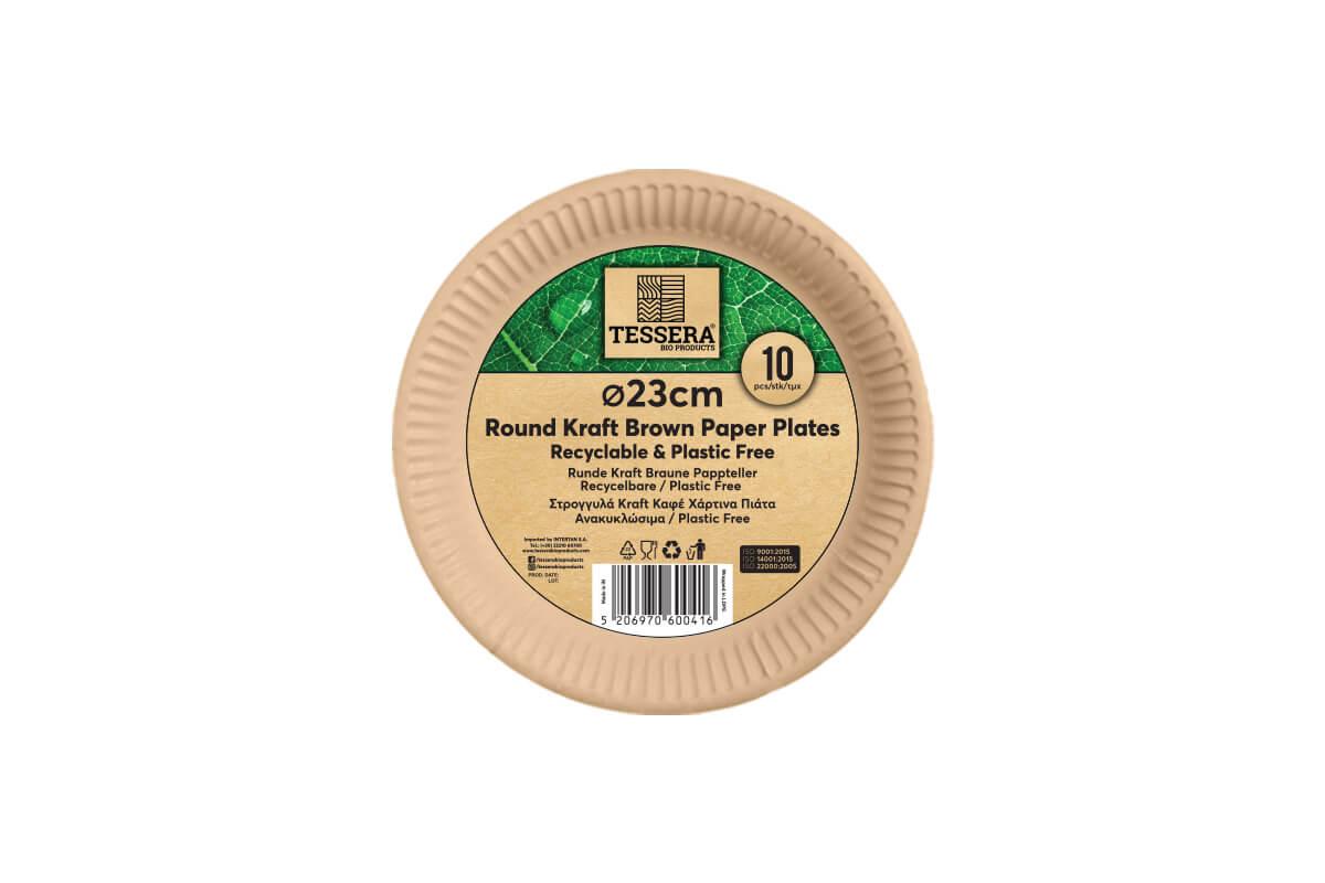 Πιάτο Χάρτινο KRAFT Ø 23 cm Retail | TESSERA Bio Products®
