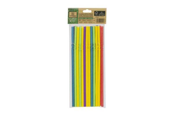 Χάρτινα Kαλαμάκια Σπαστά σε 5 Χρώματα FSC, Ø 0,6x21cm, 4x25x25τεμ, | TESSERA Bio Products®